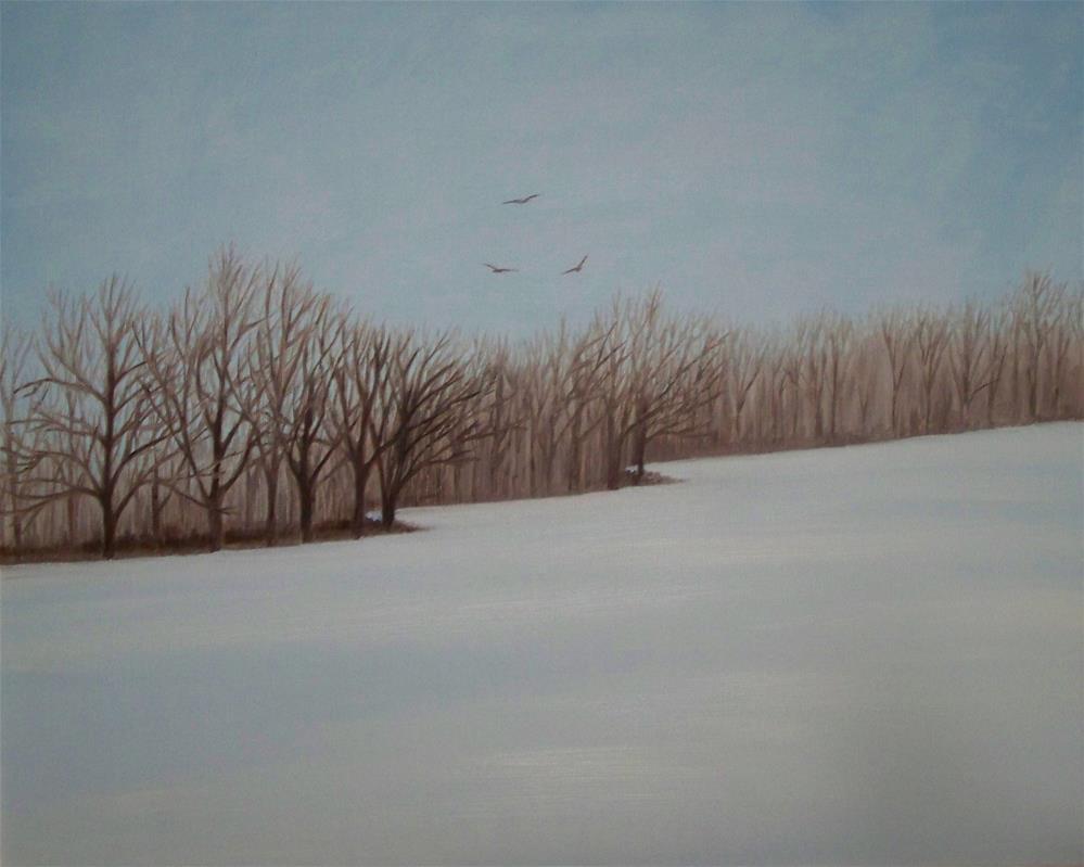 """Snowfall at Octoberfarm"" original fine art by Elaine Shortall"