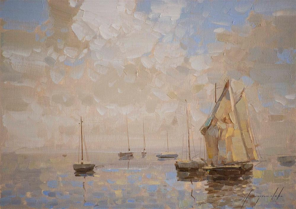 """Sail Boats Tonalism Original oil Painting on Canvas"" original fine art by V Y"
