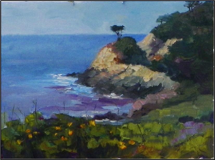 """""""Lonesome Cypress, Los Lobos, plein air, 9x12, Point Lobos, Cypress, Monterrey Cypress, Carmel"""" original fine art by Maryanne Jacobsen"""