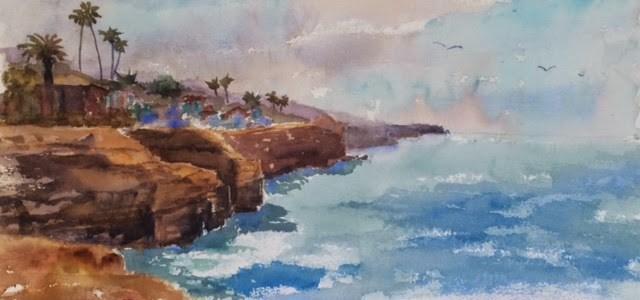 """""""Sunset Cliffs"""" original fine art by Katharine Engh"""