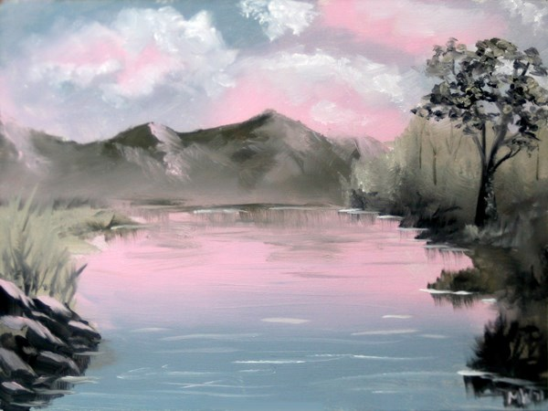 """Mark Webster - Red Skies #1 - Mountain Lake Landscape Oil Painting"" original fine art by Mark Webster"