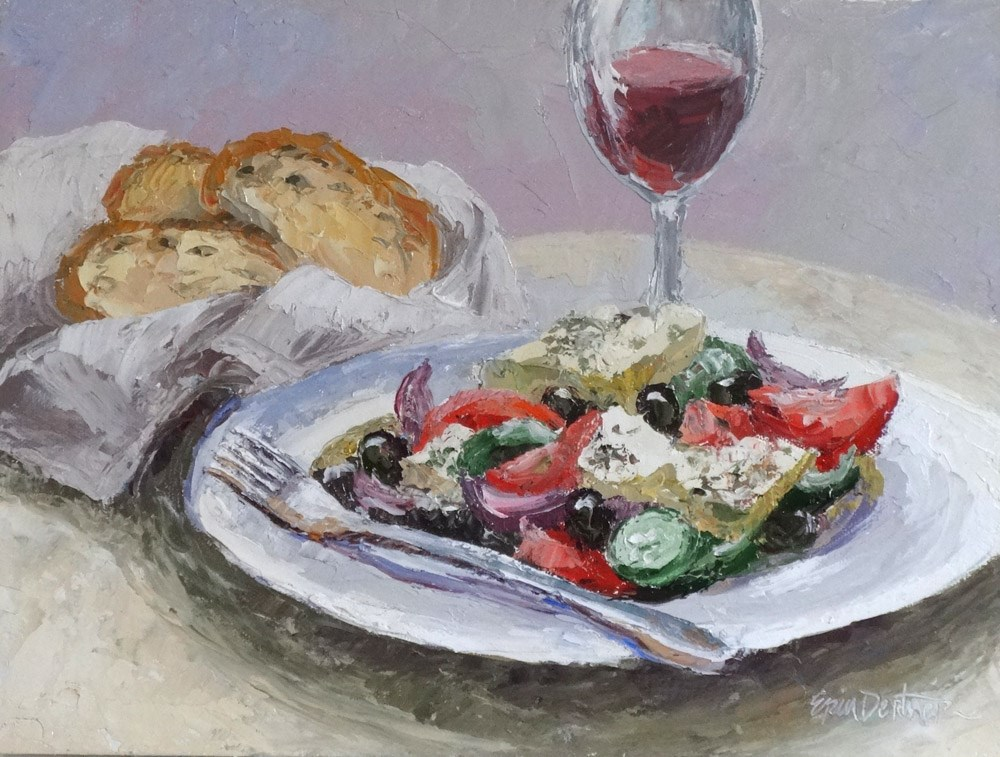 """Greek Salad for One"" original fine art by Erin Dertner"