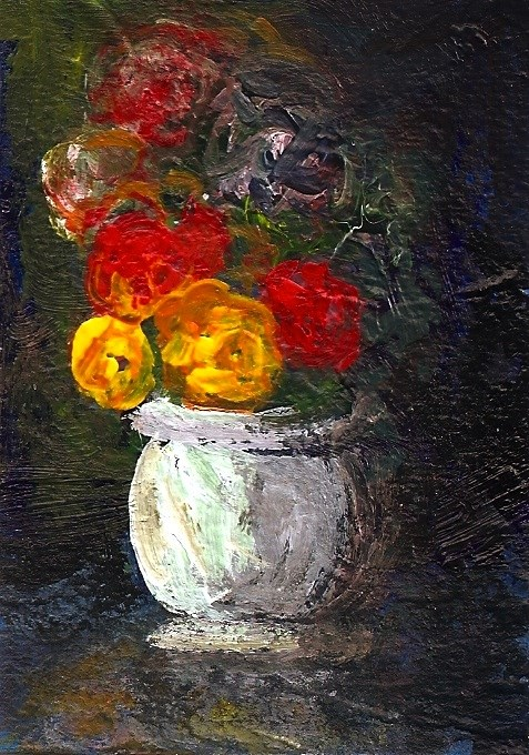 """""""ACEO Yellow + Red Roses White Vase Impressionist Painting SFA Penny StewArt"""" original fine art by Penny Lee StewArt"""