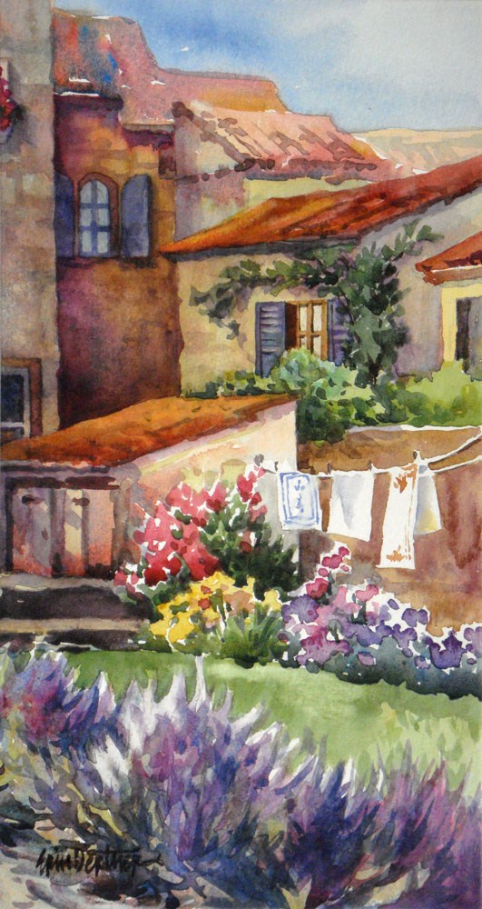 """Lavender and Laundry"" original fine art by Erin Dertner"