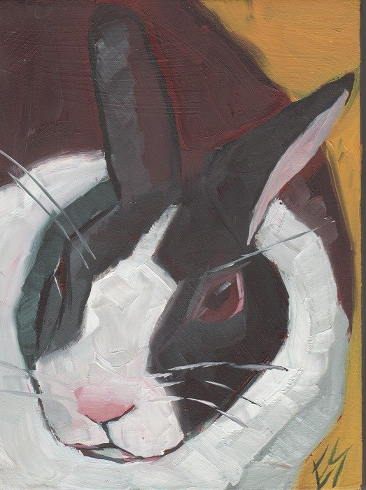 """Rabbit Face Original Oil Painting"" original fine art by Elizabeth See"