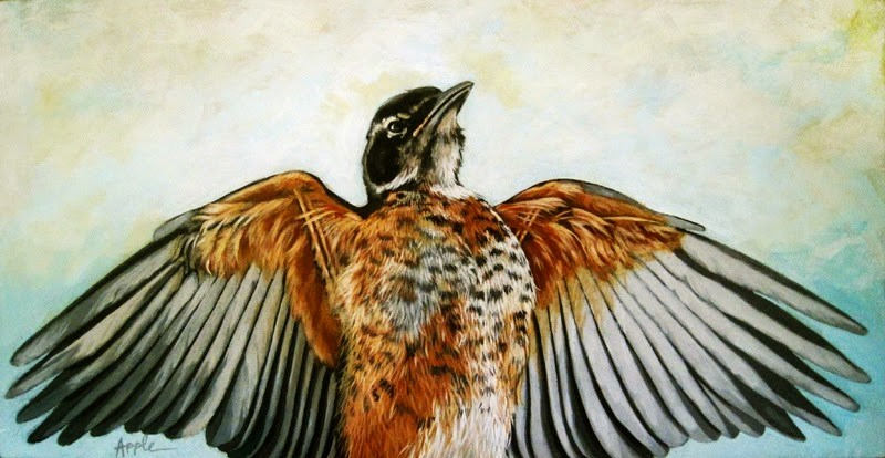 """Sebastion the Red Robin - nature art realistic Bird painting"" original fine art by Linda Apple"