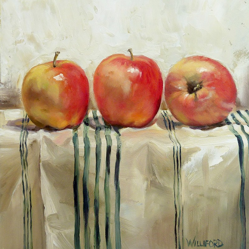 """Three Apples"" original fine art by Kathleen Williford"