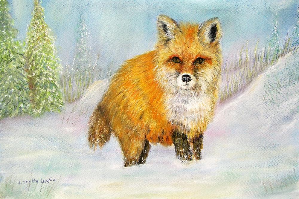 """Red Fox in Winter"" original fine art by Loretta Luglio"