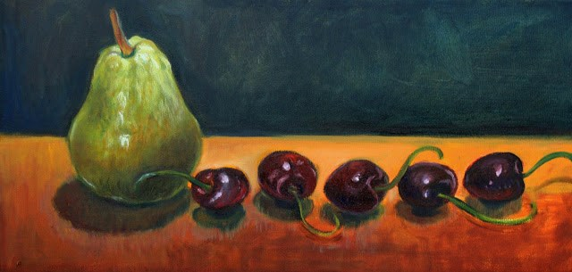 """""""Pears and cherries"""" original fine art by Hilary J. England"""