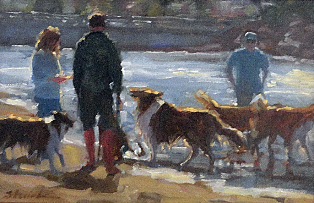 """Framed Collies at the Dog Beach"" original fine art by Vicki Shuck"