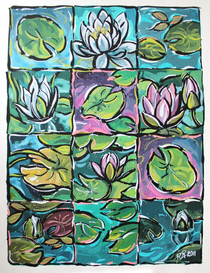 """12 squares of waterlily fun 2"" original fine art by Roger Akesson"