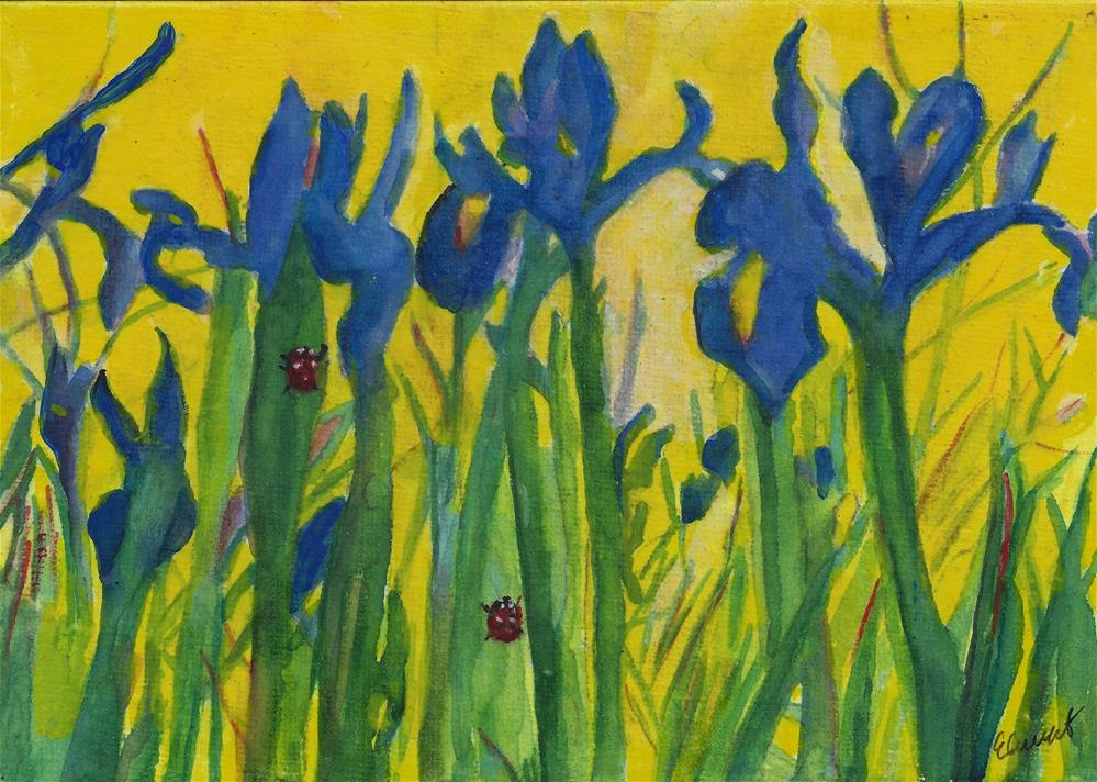 """iris and Ladybug"" original fine art by Elizabeth Current"