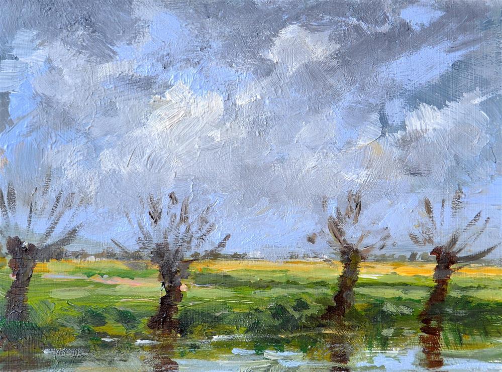 """""""Willows in the polder December 2015"""" original fine art by Wim Van De Wege"""