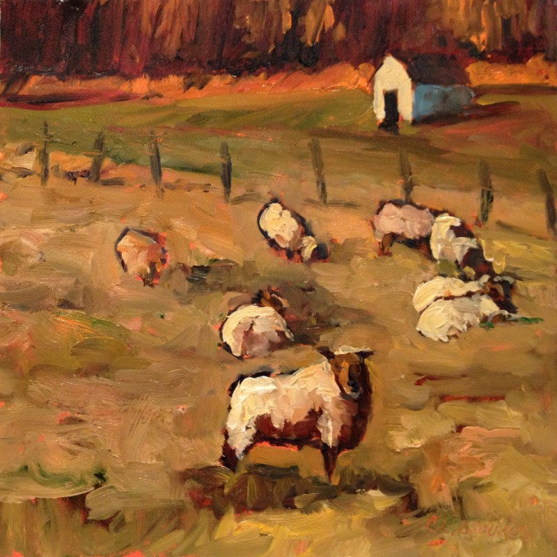 """,Sheep on Carroll Road III, Day 44"" original fine art by Claudia L Brookes"