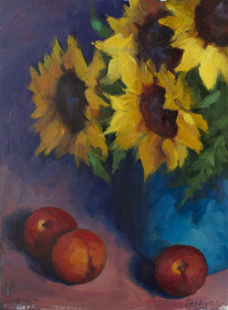 """Evening Sunflowers oil on linen 12x16"" original fine art by Emiliya Lane"