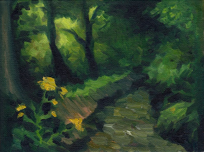 """Flowers by the River"" original fine art by J M Needham"