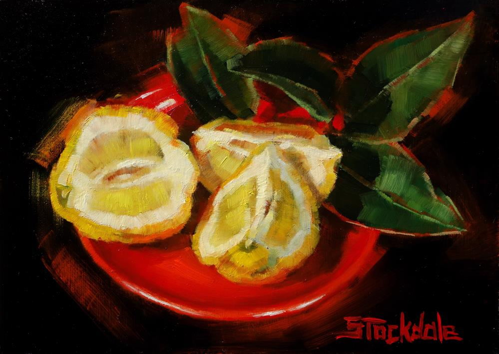 """Lemons And Plate"" original fine art by Margaret Stockdale"