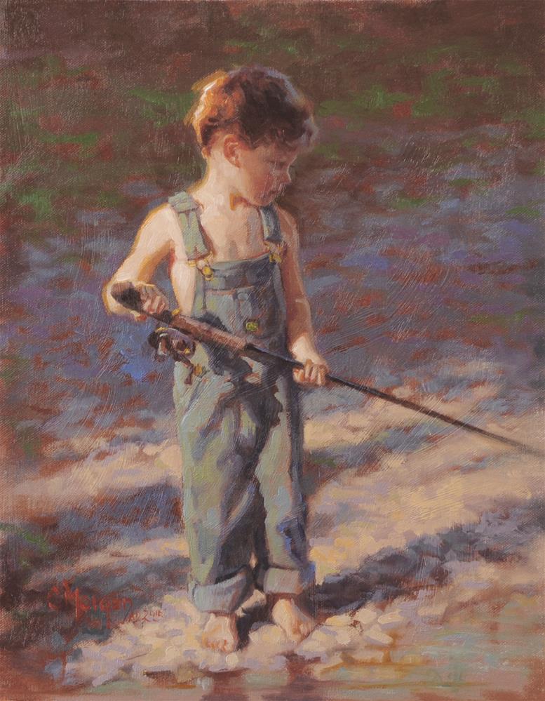 """Papa's Fishing Pole"" original fine art by Cecile W. Morgan"