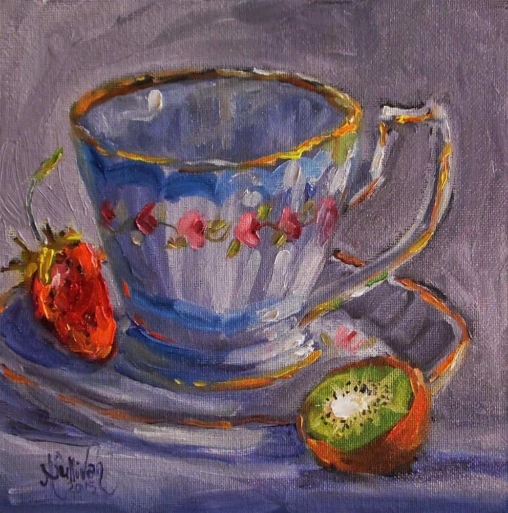 """Strawberry Kiwi still life painting by Alabama Artist Angela Sullivan"" original fine art by Angela Sullivan"