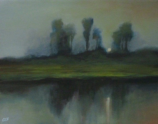 """Misty Moonrise"" original fine art by ~ces~ Christine E. S. Code"