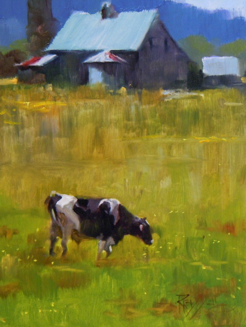 """Home Pasture  cows in the landscape, oil painting.."" original fine art by Robin Weiss"