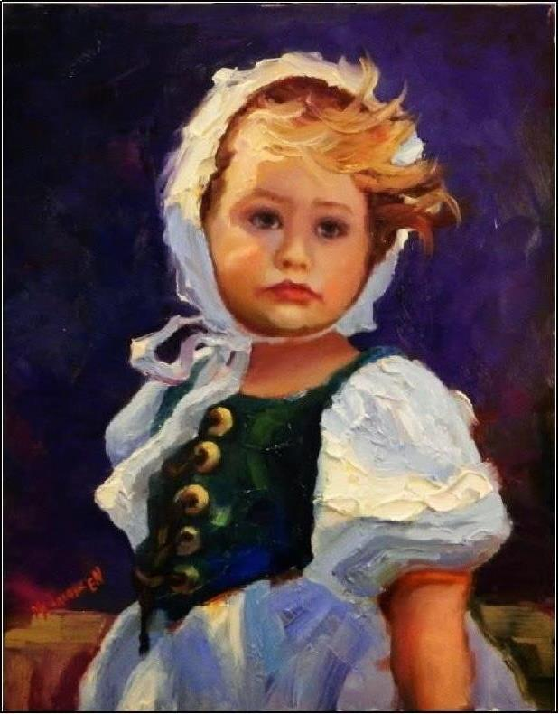 """Guileless, 14x11, oil on board, paintings of children, little girls, girls with bonnets, children,"" original fine art by Maryanne Jacobsen"