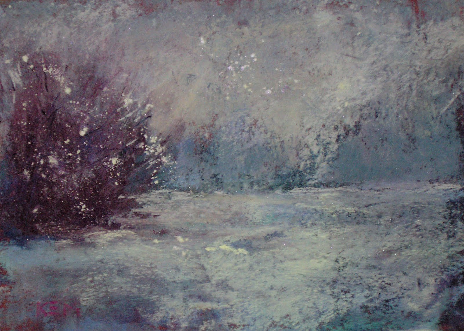 """Winter Solstice Painting on Handmade Surface"" original fine art by Karen Margulis"