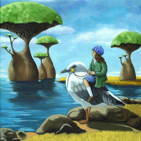 """""""Ocean Aviary"""" original fine art by Linda Apple"""