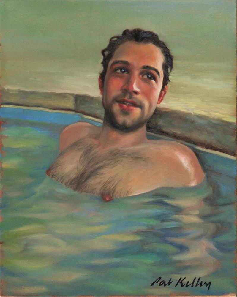 """Man in a Hot Tub"" original fine art by Pat Kelley"