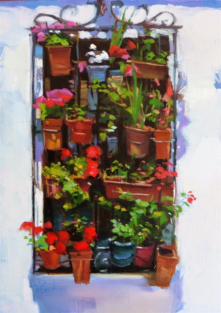 """Window full of pots"" original fine art by Víctor Tristante"