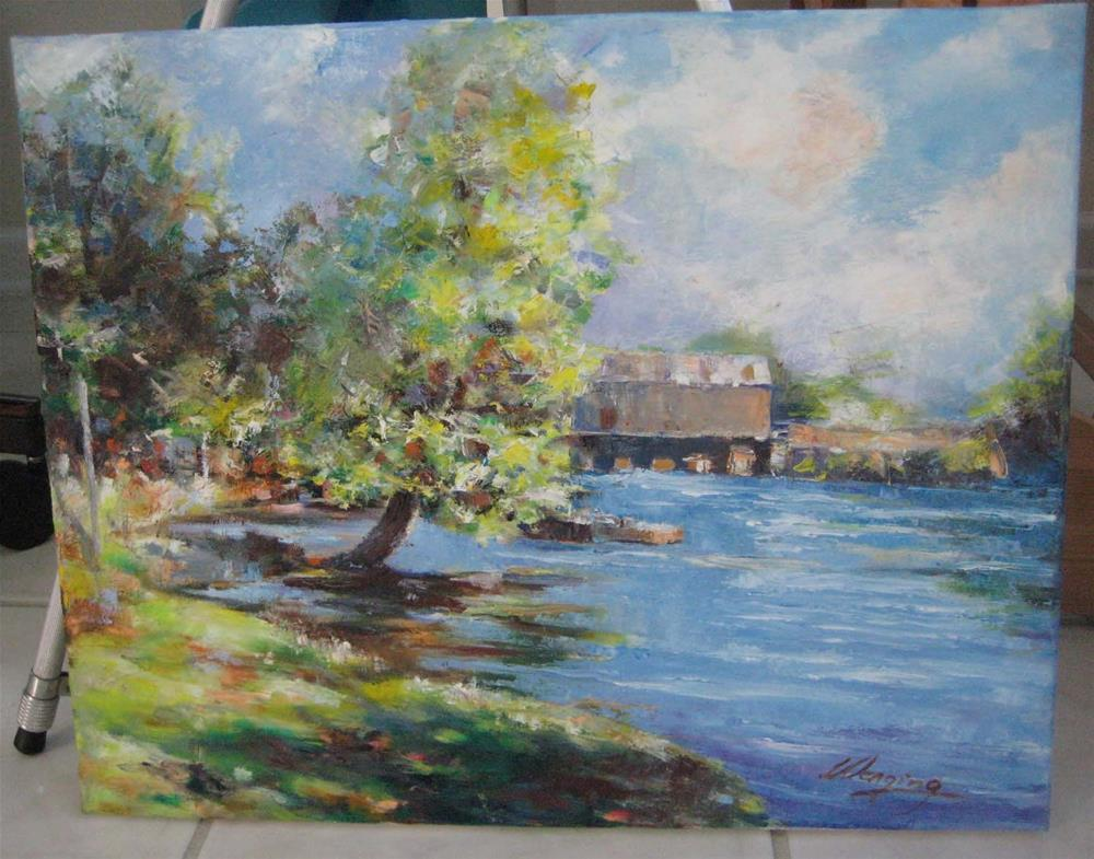 """SPRING IN THE aUGUSTA CANEL"" original fine art by Wenqing Xu"