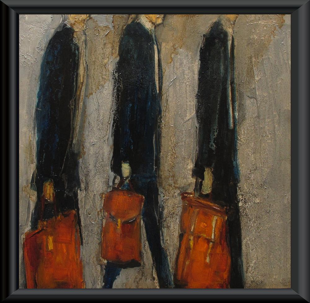 """SUITS - CASES Original ABSTRACT FIGURE Art Painting OIL"" original fine art by Colette Davis"