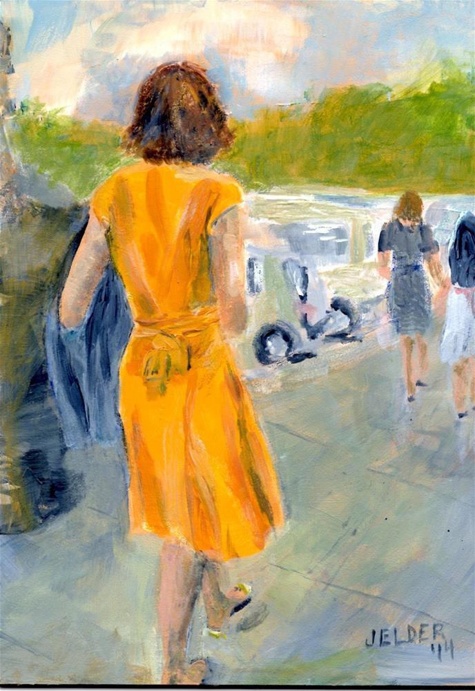 """Paris No. 66, Woman in Yellow"" original fine art by Judith Elder"