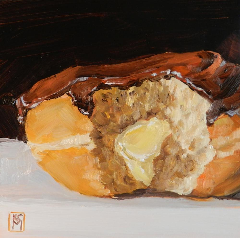 """Boston Cream Donut!   6x6 Inch Original Oil Painting"" original fine art by Kelley MacDonald"