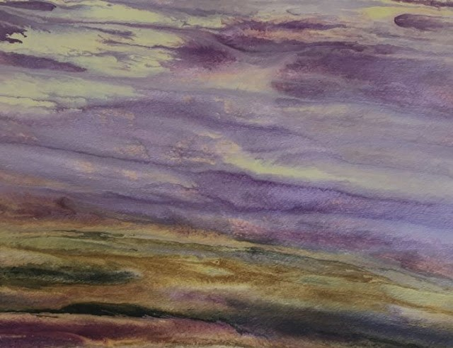 """Contemporary Abstract Landscape,Sunset Art Painting Reflections on the Plains- Study #2 by Interna"" original fine art by Kimberly Conrad"