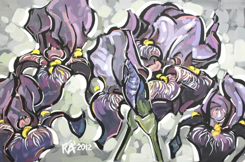"""Purple Iris 12"" original fine art by Roger Akesson"