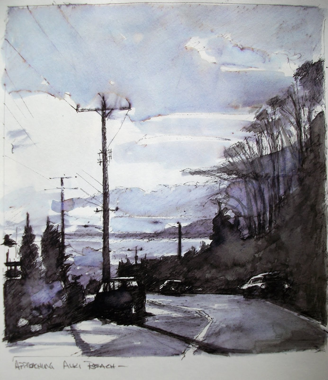 """Approaching Alki  sketches from 2011"" original fine art by Robin Weiss"