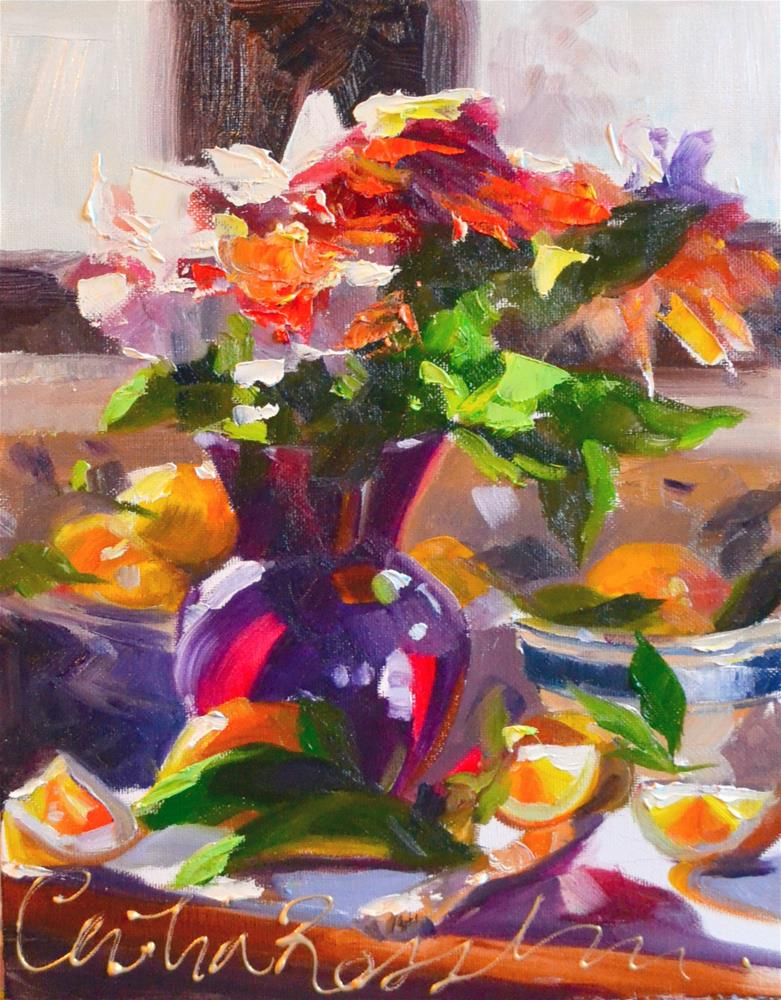 """VIOLET VASE"" original fine art by Cecilia Rosslee"