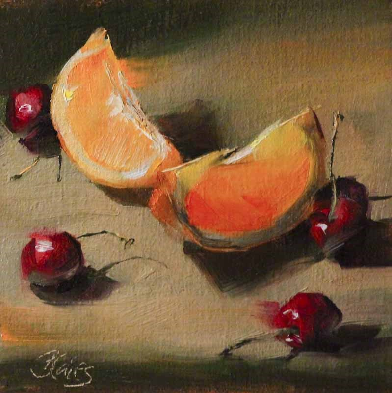 """Cherries and Orange Slices"" original fine art by Pamela Blaies"