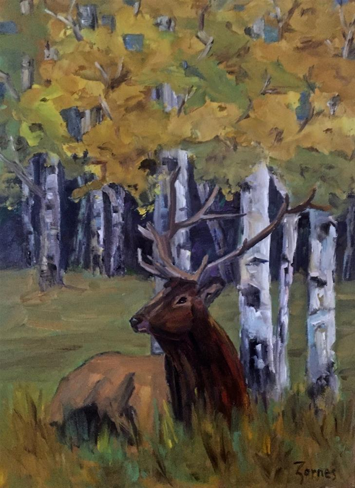 """Elk Among the Aspens"" original fine art by Liz Zornes"