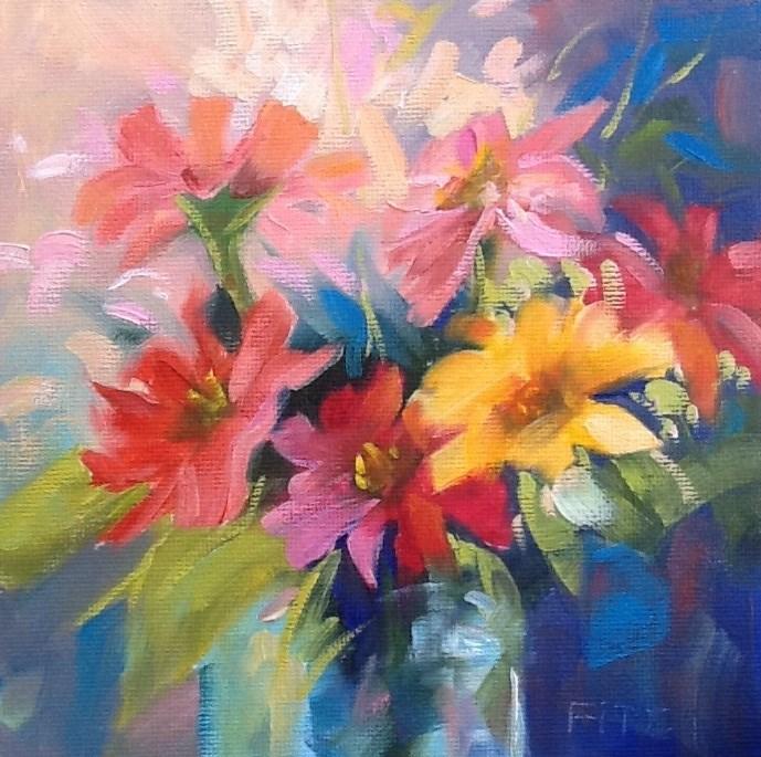 """Zinnias"" original fine art by Jean Fitzgerald"