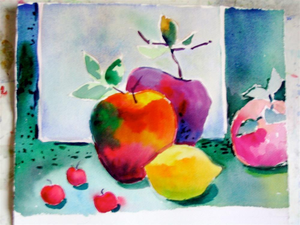 """""""apples and lemon"""" original fine art by meribeth coyne"""
