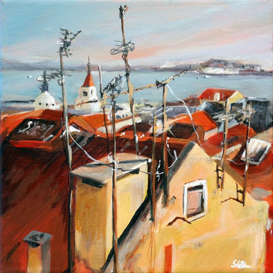 """1268 Roof Antennas"" original fine art by Dietmar Stiller"