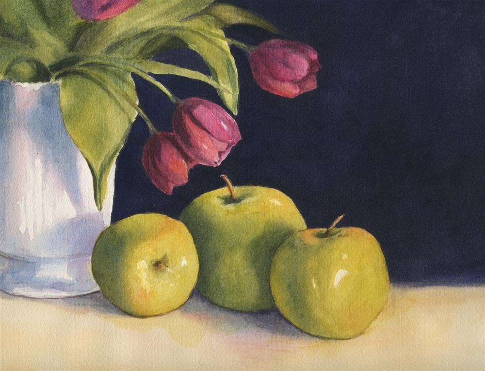 """Green Apples & Tulips--studio sale"" original fine art by Vikki Bouffard"