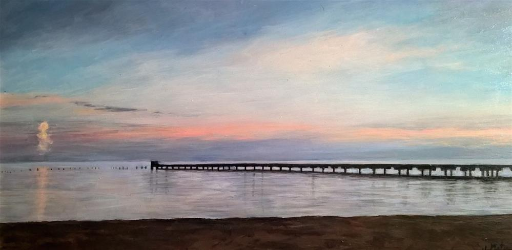 """Sunset over the Pier"" original fine art by Joan Matero"