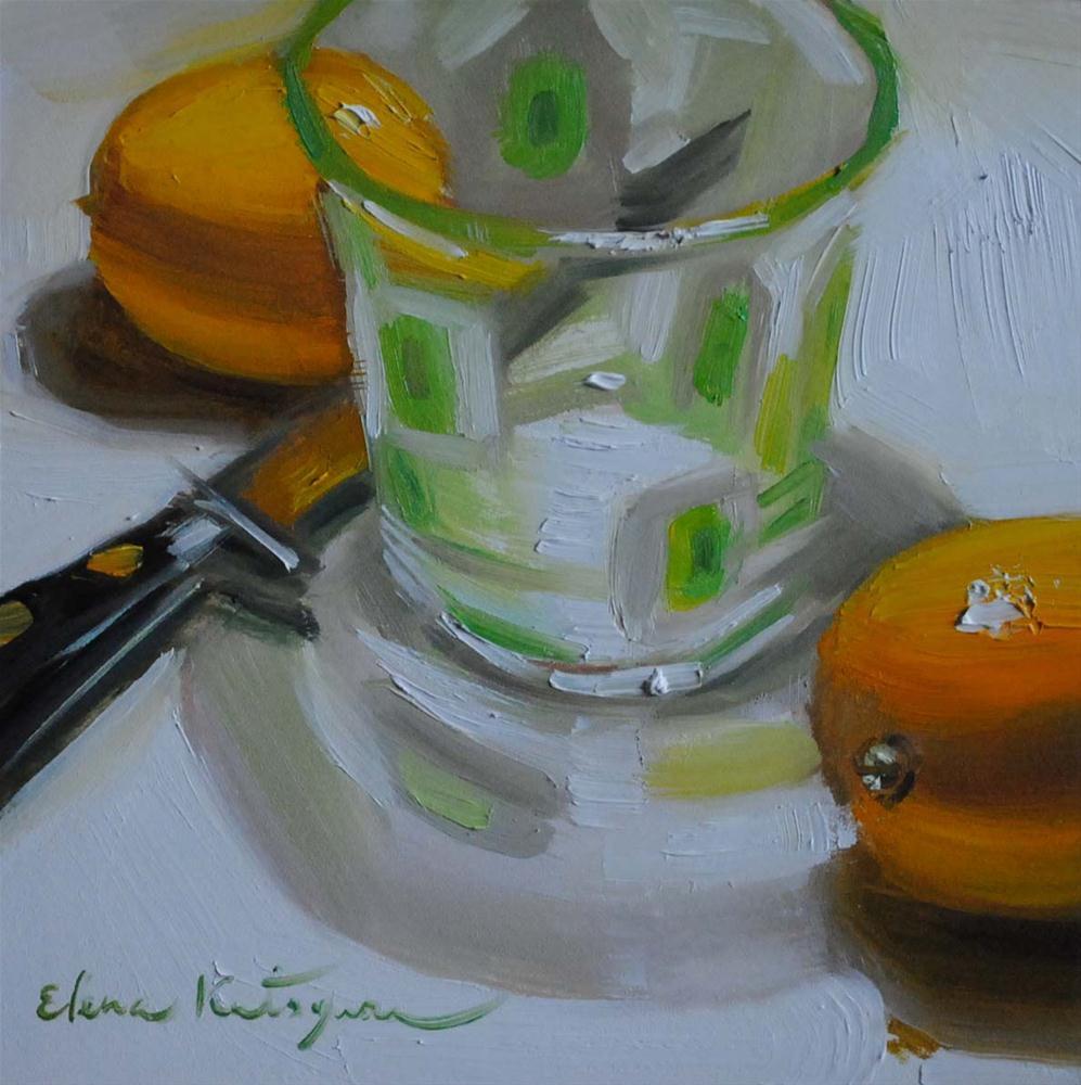"""Green Squares & Lemons"" original fine art by Elena Katsyura"