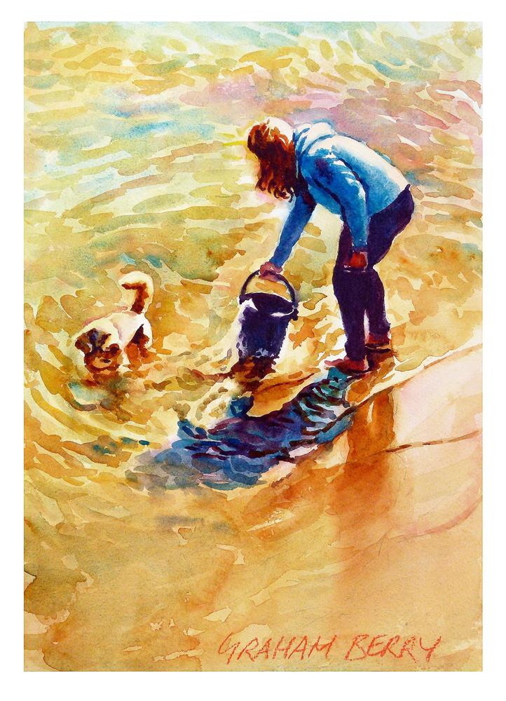 """Filling the bucket"" original fine art by Graham Berry"