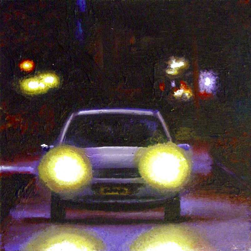 """Head Lights- Nocturnal City Scene Painting Of Car"" original fine art by Gerard Boersma"