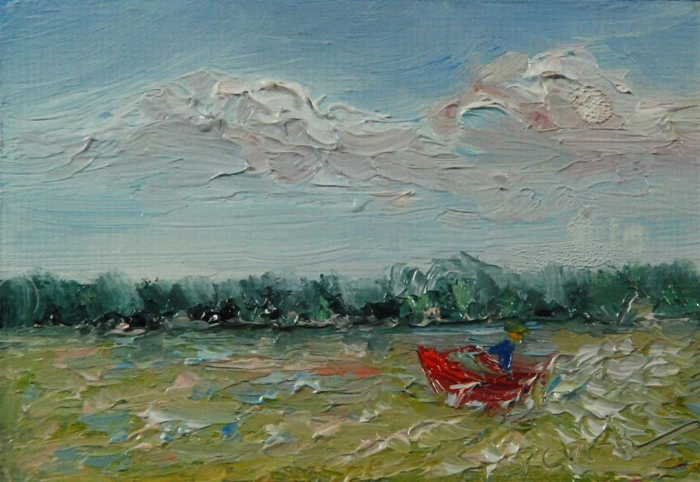 """Making Wake on Indian Lake, 2.5 x 3.5 inches, Oil Landscape"" original fine art by Donna Pierce-Clark"