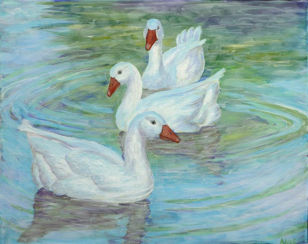 """Three Peaceful Geese"" original fine art by Ande Hall"
